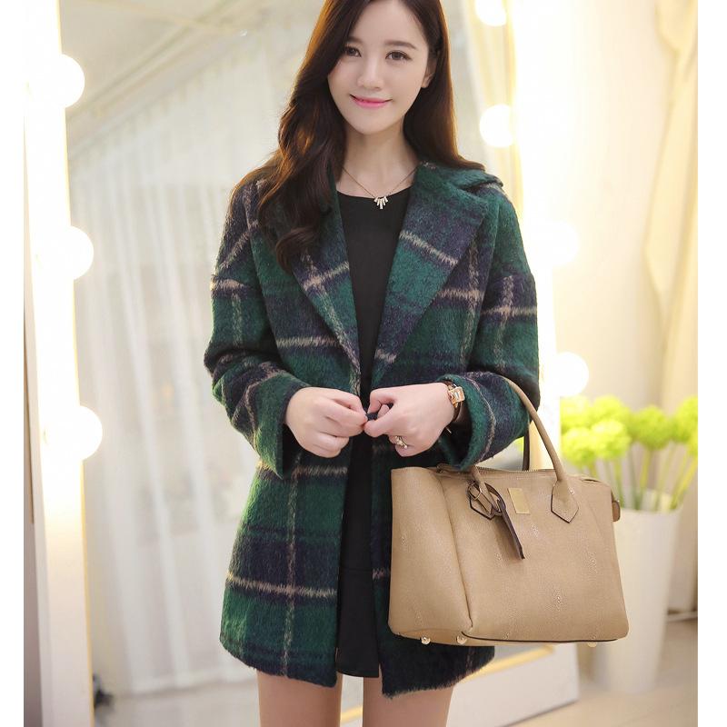毛呢外套女 绿格大衣绿色格子甜美秋冬装毛呢