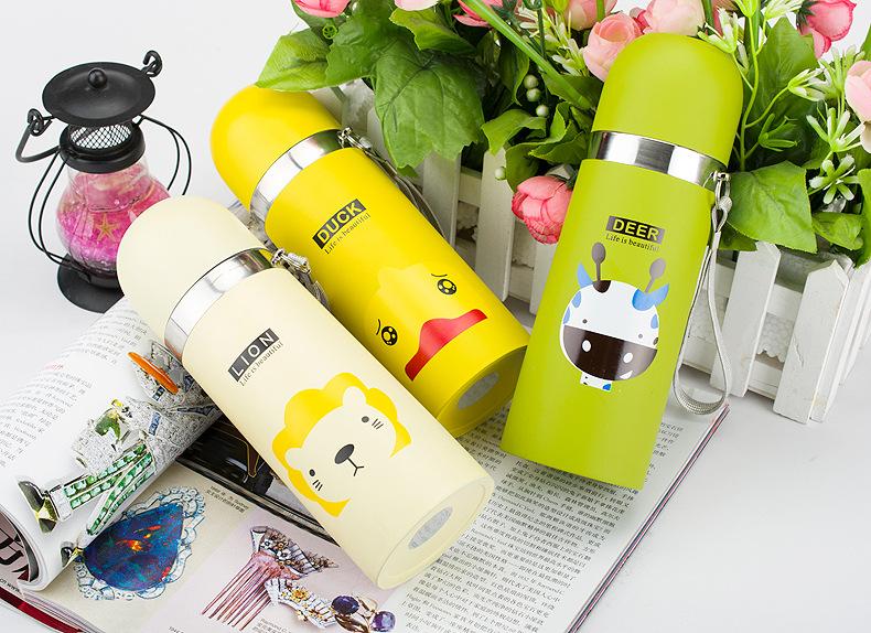 Bình giữ nhiệt hoạt hình cao cấp phong cách Hàn Quốc
