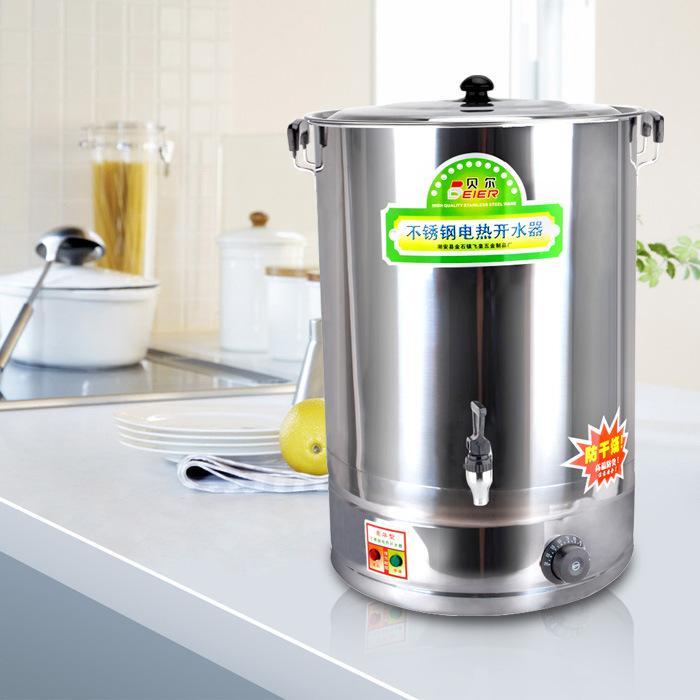 贝尔不锈钢电热开水桶底盘加热奶茶桶防干烧开水器自动调温加热桶