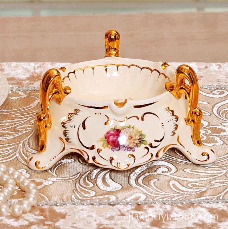 欧瑞雅 新品高档欧式奢华陶瓷器象牙瓷欧式烟灰缸 新家装饰摆件