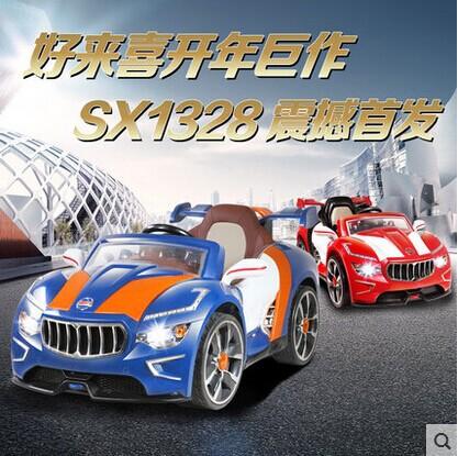 好来喜SX1328儿童电动车电动带遥控双驱缓启动可坐玩具车