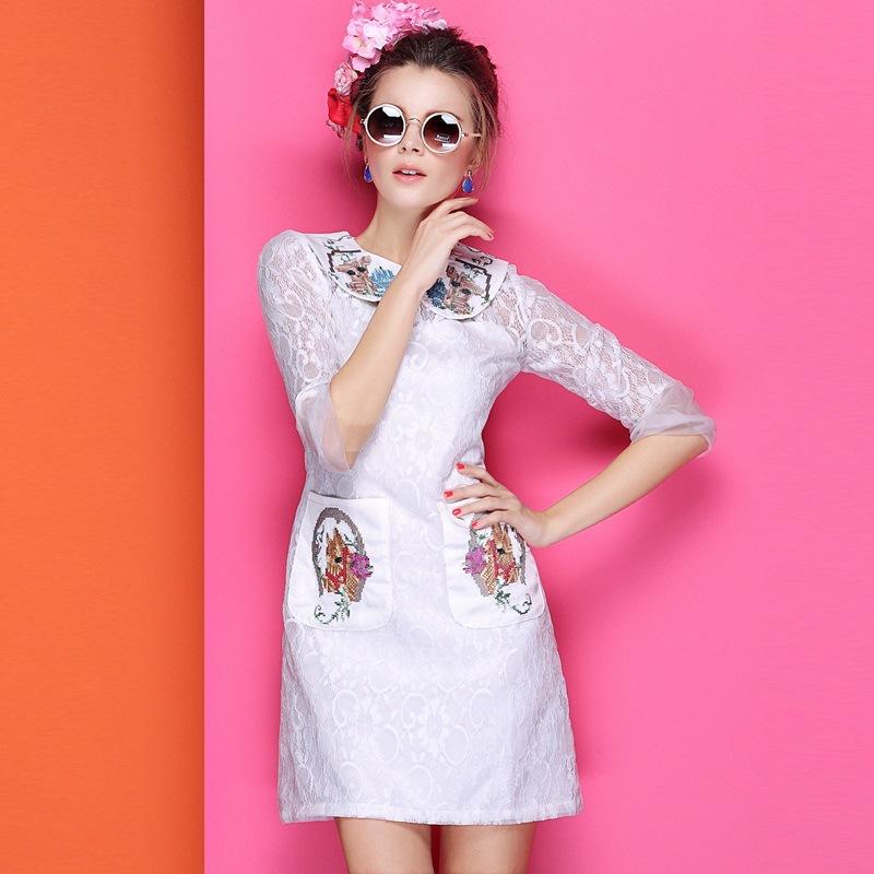 精品女装2014春夏季新款十字绣印花娃娃领侧口袋拼接蕾丝连衣裙