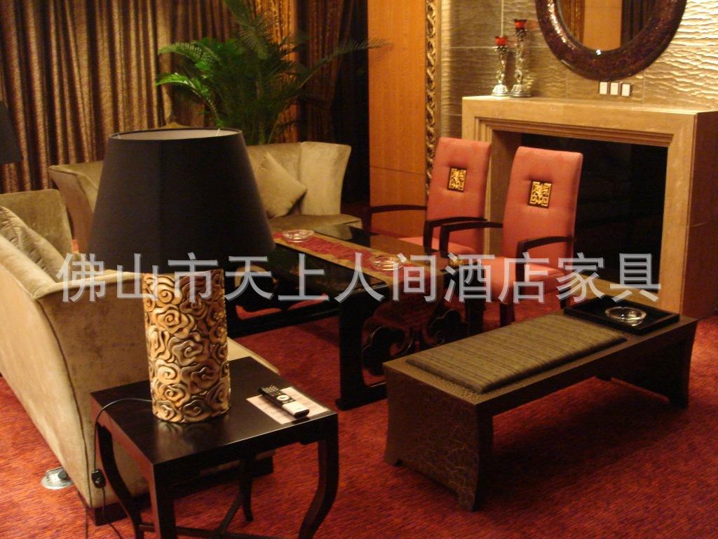 印花布艺新中式沙发 定制中式会所别墅酒店餐厅布艺沙发 -布艺沙发