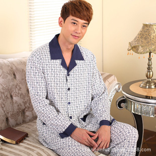 Shantou origin of men's pyjamas The new season man leisurewear suit lapel long sleeve pattern printing
