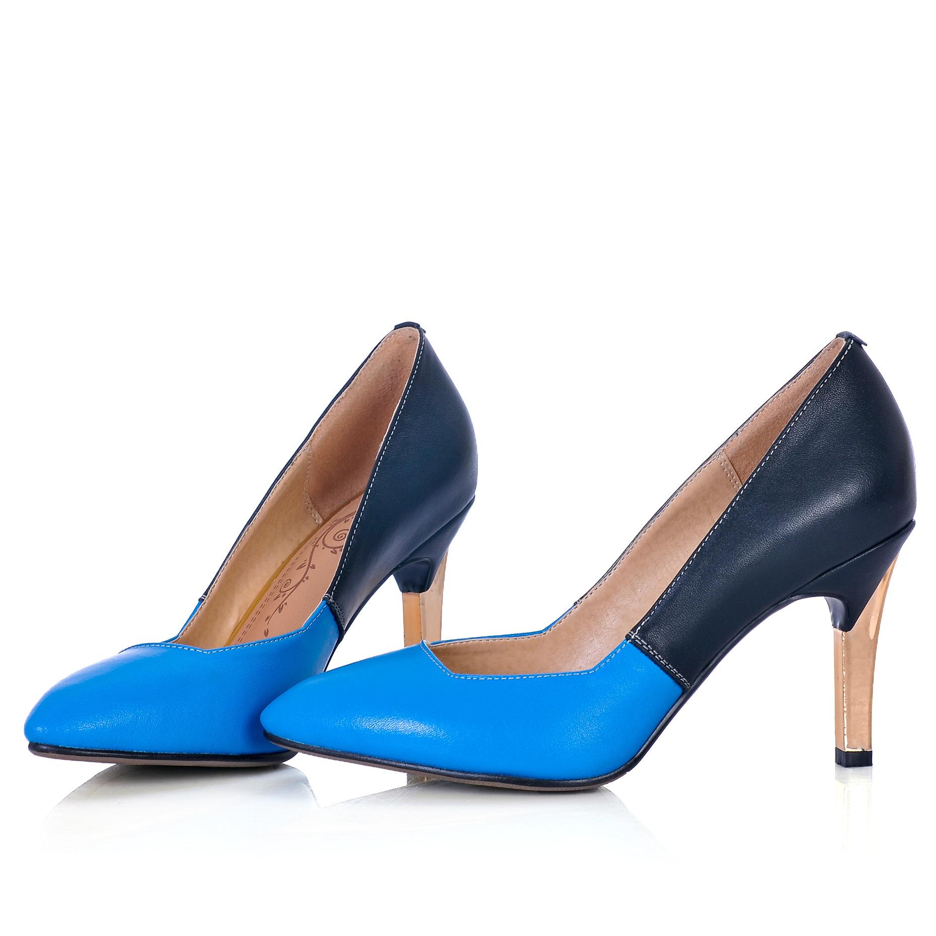 2014春新款拼色真皮高跟女鞋 金色跟小尖头高跟单鞋 外贸女鞋图片,图片