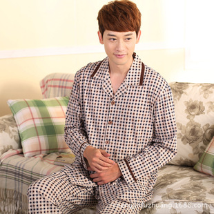 Men's long sleeve pajamas The new cotton quality lapel knitting leisure leisure wear cardigan