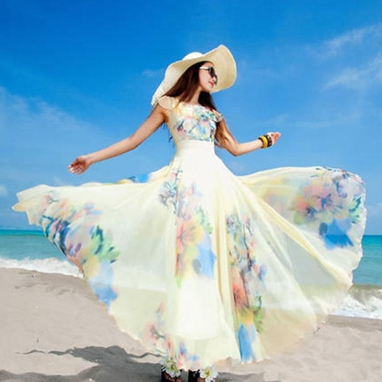 优雅女人味波西米亚长裙渡假旅游沙滩裙 裙摆