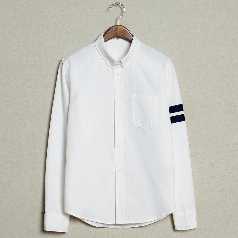 2015春季男士韩版修身纯色衬衣日系两道杠休闲衬衫 1894