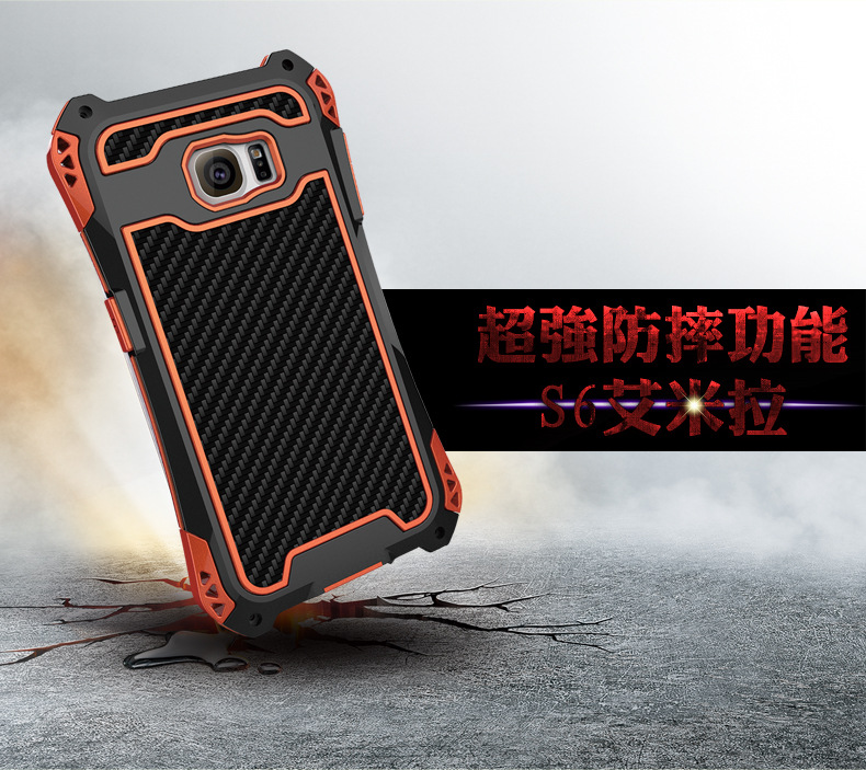 R-Just Amira Heavy Duty Dirtproof Shockproof Rainproof Aluminum Metal Bumper Carbon Fiber Back Cover Case for Samsung Galaxy S6 Edge Plus G9280