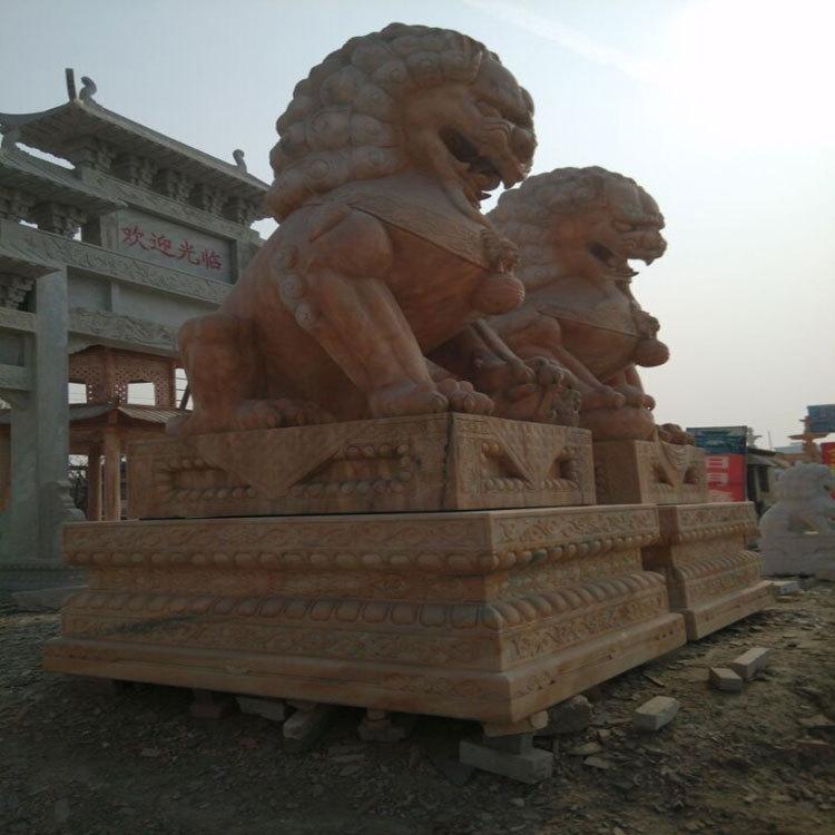 公园 广场 小区 庭院晚霞红 汉白玉大型石雕狮子 镇宅 避邪 美观