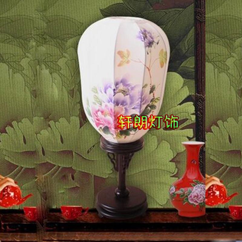 中式古典风格台灯木头布艺创意手绘台灯沙发床头书房卧室客