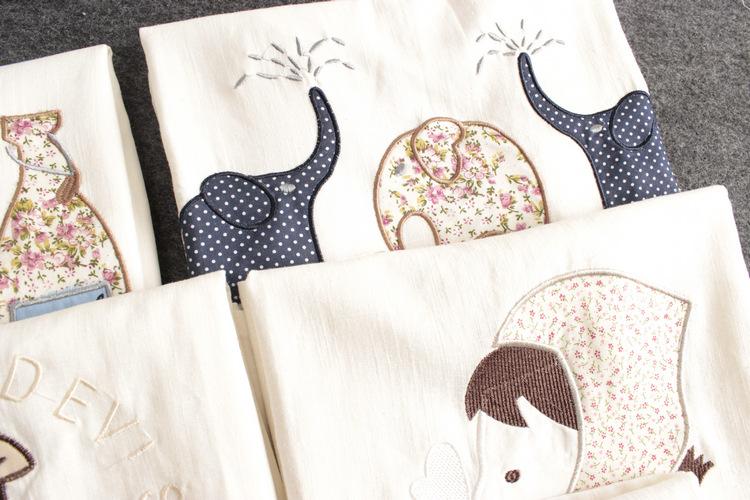款棉麻女t恤 动物印花刺绣简洁百搭 甜美休闲圆领短袖 女式图片