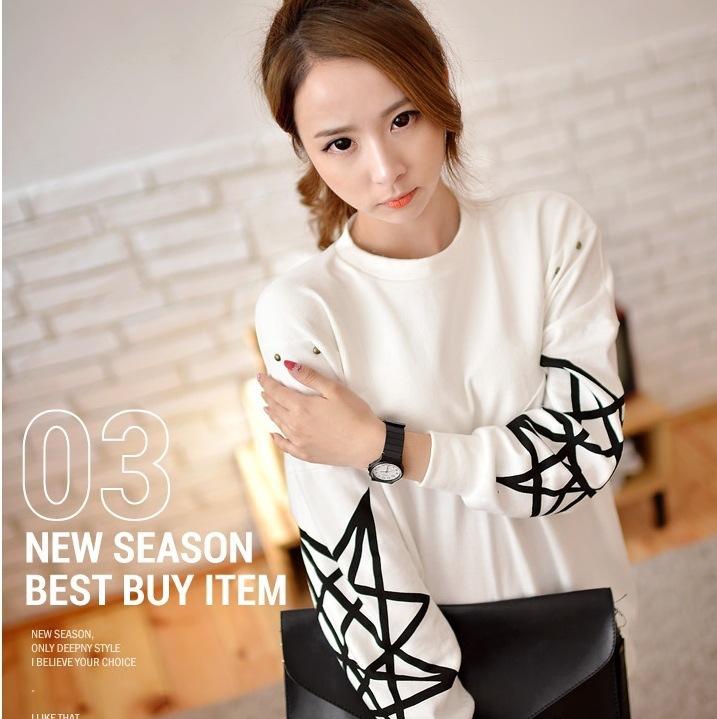 2014新款潮流韩版女式卫衣 韩国宽松圆领套头长袖卫衣绒衫5178薄