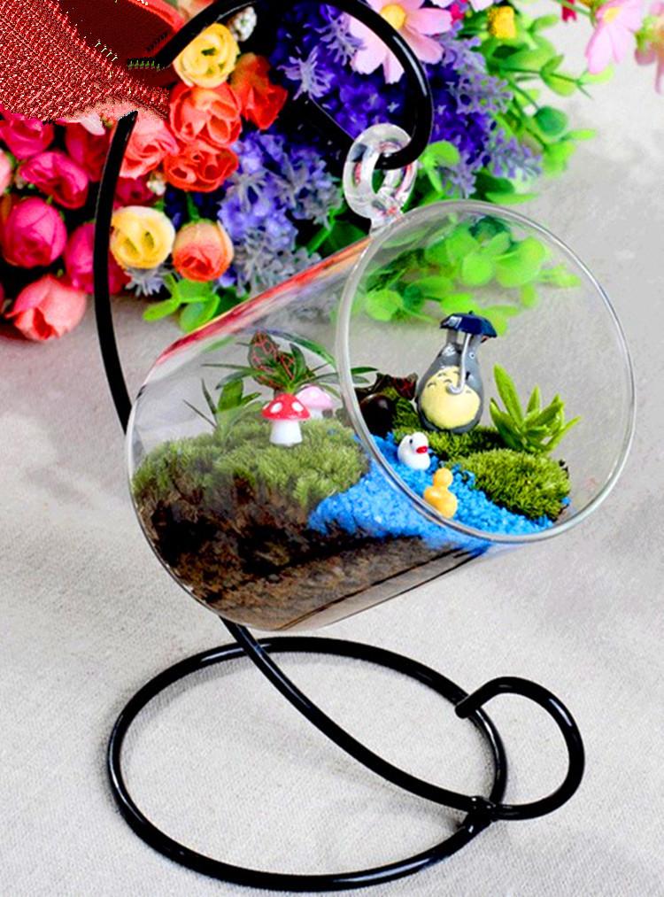 新款创意礼品 微景观玻璃花瓶吊瓶 铁架玻璃工艺品透明悬挂