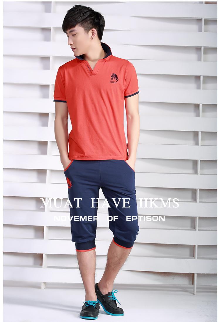男式休闲套装 男运动套装 夏季男士短袖T恤短裤套装 休闲修身运动服