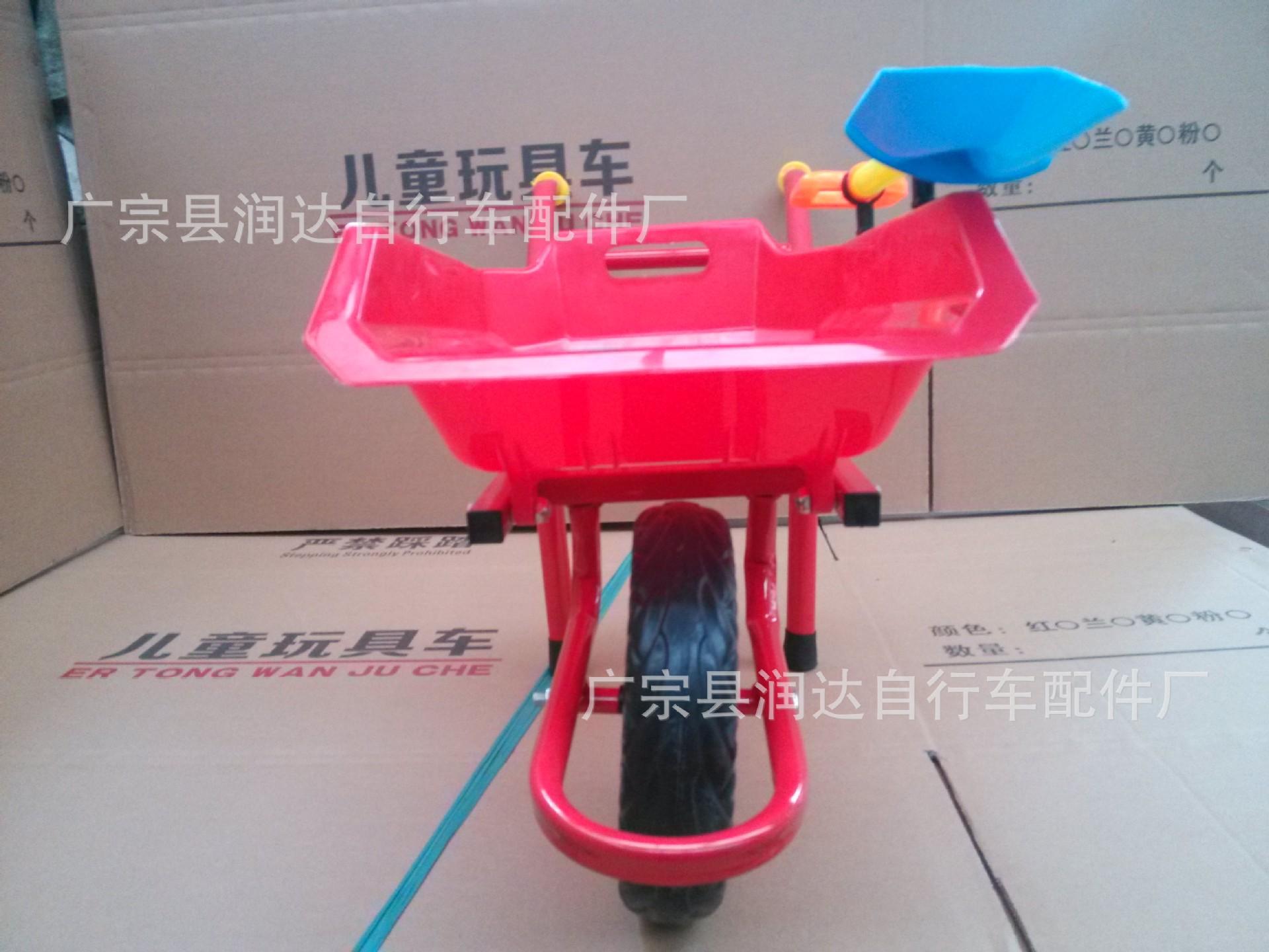 厂家热销儿童沙滩独轮车 儿童小推车 独轮翻斗车 附赠彩色塑料铲