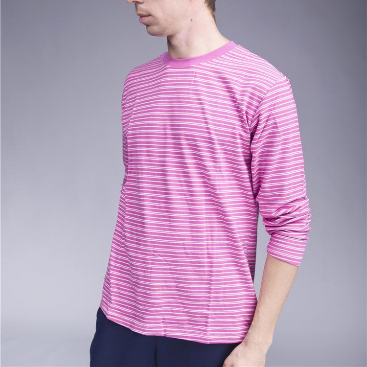 男士气质百搭欧美修身版印花棉质衬衫 条纹长袖衬衫