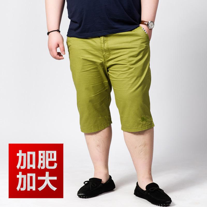 加肥加大码男士纯棉超薄休闲短裤胖子大号格纹五分裤马裤 批发