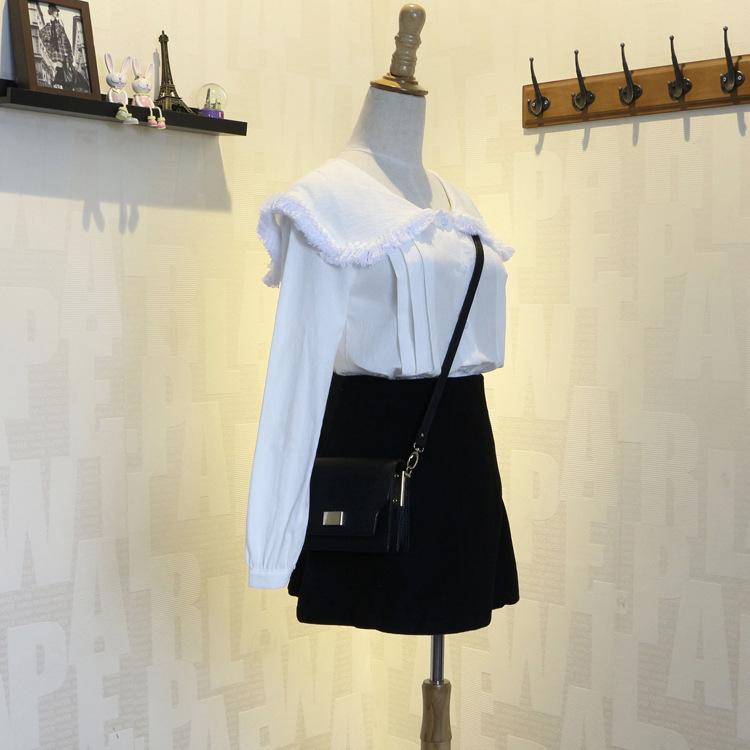 15夏季新品女装日韩小清新学院风衬衫 娃娃领流苏长袖衬衫女8720