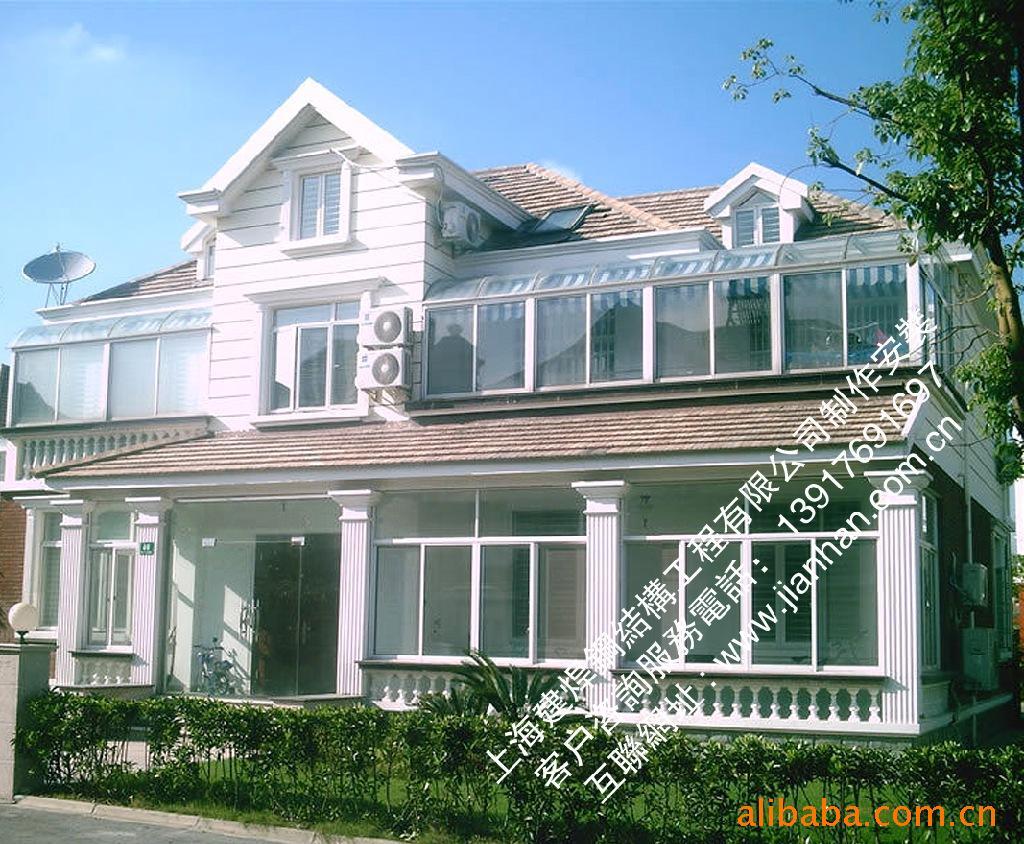 彩钢夹心板屋顶【钢结构框架】人字形阳光房设计/制作/安装一体图片